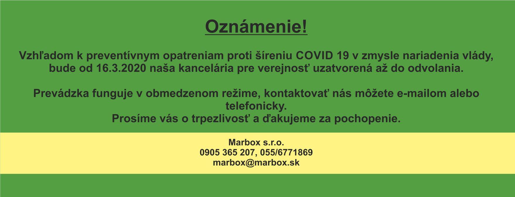 Oznam – COVID 19-b